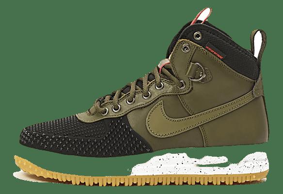 Nike Lunar Force 1 кожа-сетка болотные с черным