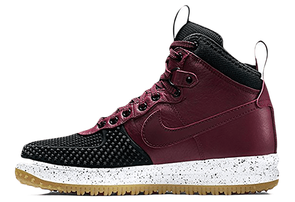 Nike Lunar Force 1 кожа-сетка бордовые с черным