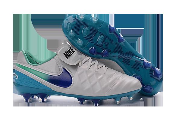Nike Tiempo Legend V FG Белые с Синим