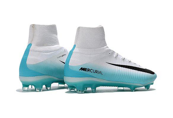 Nike Mercurial Superfly V FG Белые с голубым