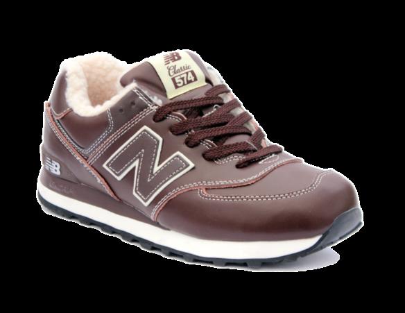New Balance 574 С натуральным мехом коричневые