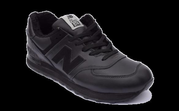 New Balance 574 Черные кожаные с мехом