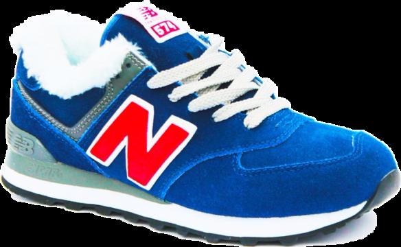 New Balance 574 С натуральным мехом синие