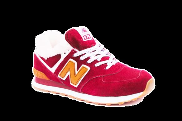 New Balance 574 С натуральным мехом красные