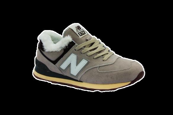New Balance 574 С натуральным мехом кремовые