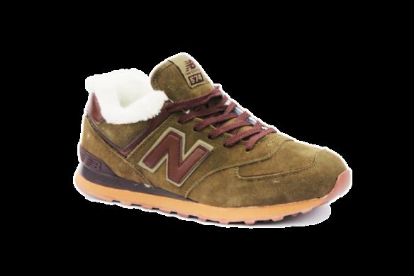 New Balance 574 С натуральным мехом зеленые