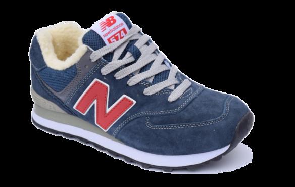 New Balance 574 Синие с красным с мехом
