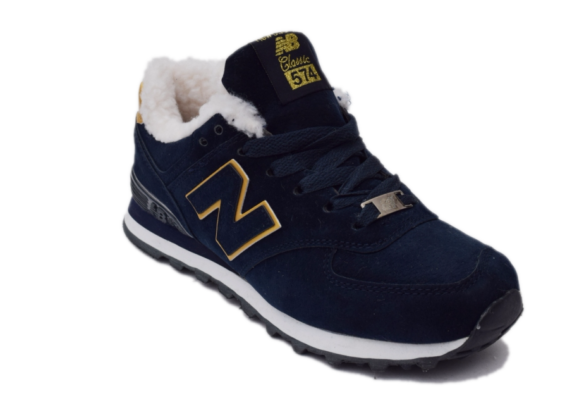 New Balance 574 Темно-синие с мехом