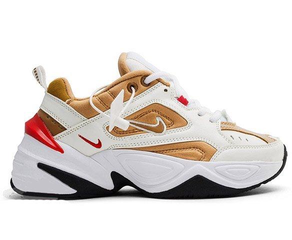 Nike M2k Tekno белые с золотым