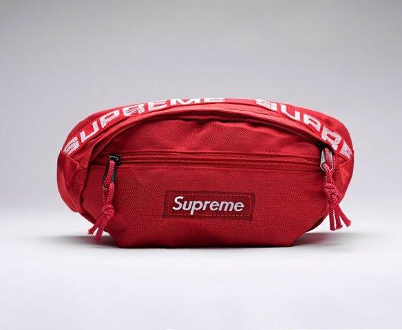 Сумка Supreme поясная красная