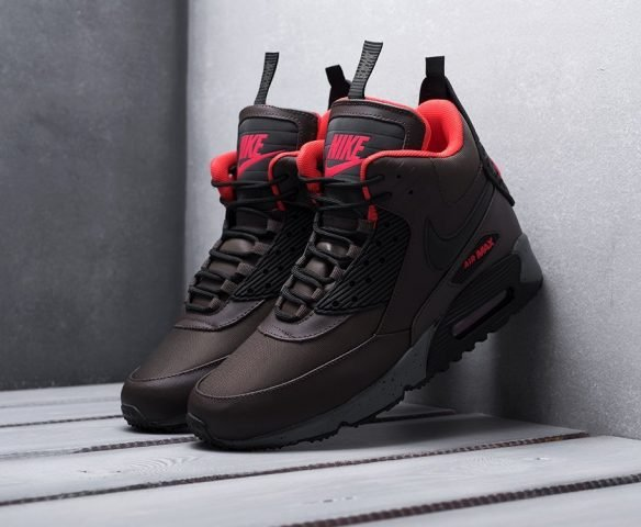 Nike Air Max 90 Sneakerboot коричневые с красным