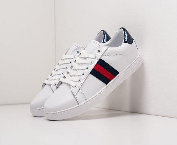 Gucci Stripe Leather low white