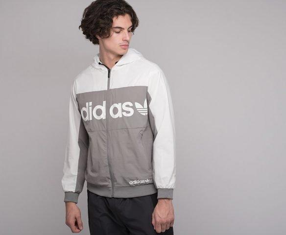 Ветровка Adidas серо-белая